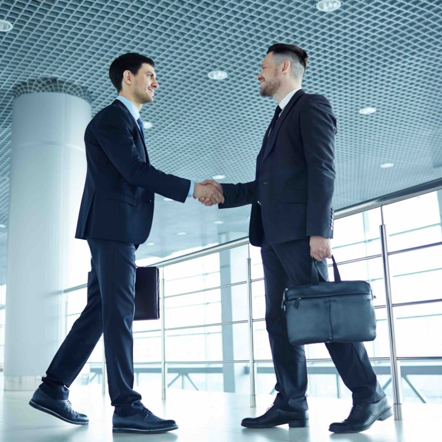 Successful business leaders with briefcases handshaking at meeting